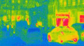 Thermal image of a street