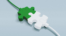 A green and a white plug converging as puzzle pieces.