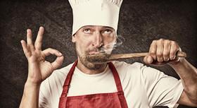 Chef tasting food