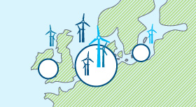 Infographic shows: Most European offshore wind turbines are located in the North Sea, where around 72 per cent of installed wind-power capacity can be found.