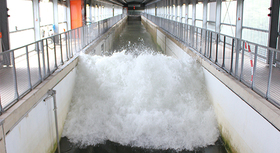 """Large Wave Flume"" of the Forschungszentrum Küste in Hanover."