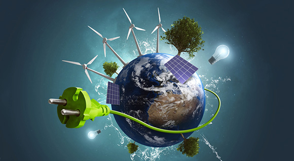 Illustration: Globe covered with renewables and a giant green cable and plug.