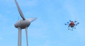 Wind energy installation with drone.