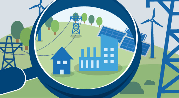 Illustration shows renewable energies, a factory and a residential building seen through a magnifying glass