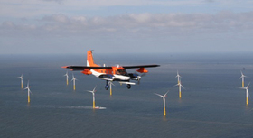 test plane above offshore wind park
