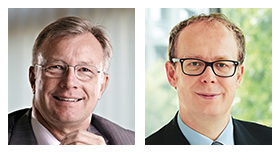 Prof. Dr. Justus Haucap, Direktor des Düsseldorf Institute for Competition Economics (dice), und Hans-Joachim Reck, Hauptgeschäftsführer des Verbandes kommunaler Unternehmen (VKU)