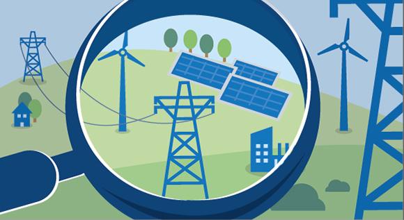 Illustration: Erneuerbare Energien, Stromnetz und Verbraucher unter einer Lupe