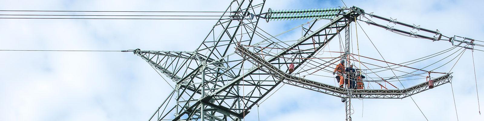 Arbeiter auf Strommast symbolisiert Netze und Netzausbau; Quelle: mauritius images / imageBROKER / Rolf Schulten