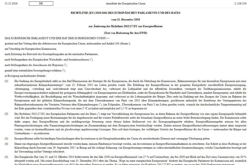 Screenshot Änderung EU-Energieeffizienz-Richtlinie