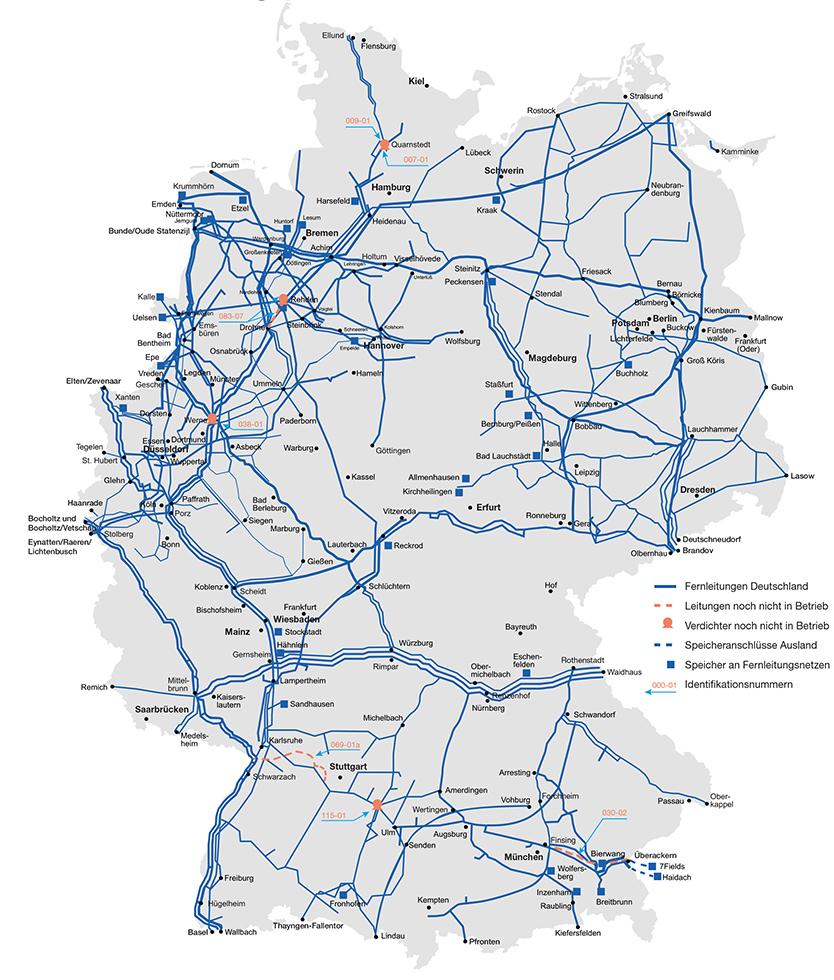 Das deutsche Gas-Fernleitungsnetz im Überblick