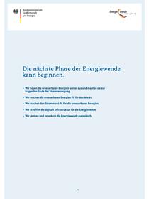 """Cover des Informationspapiers """"Die nächste Phase der Energiewende kann beginnen"""""""