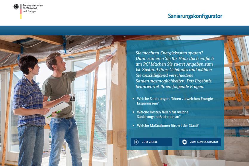 Screenshot der Website Sanierungskonfigurator